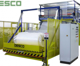Film wrapping machines - Wrapping machines examples-Machines for packing and compression of foam rolls in film or paper RUK 2700